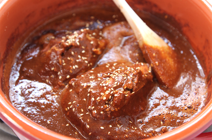 Chicken Mole - Delicious Mexican chocolate sauce_ Are you a chocolate lover_ then you will probably fall in love with this one. www.tastessofine.com