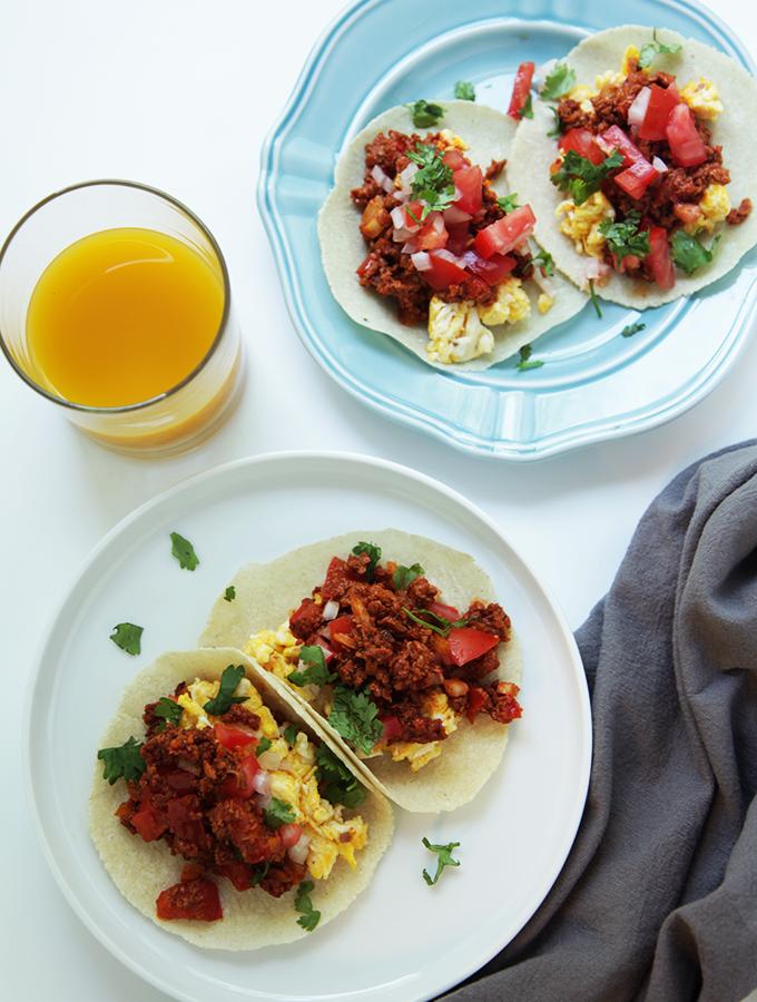 Egg breakfast tacos with chorizo. So delicious. Tastessofine.com